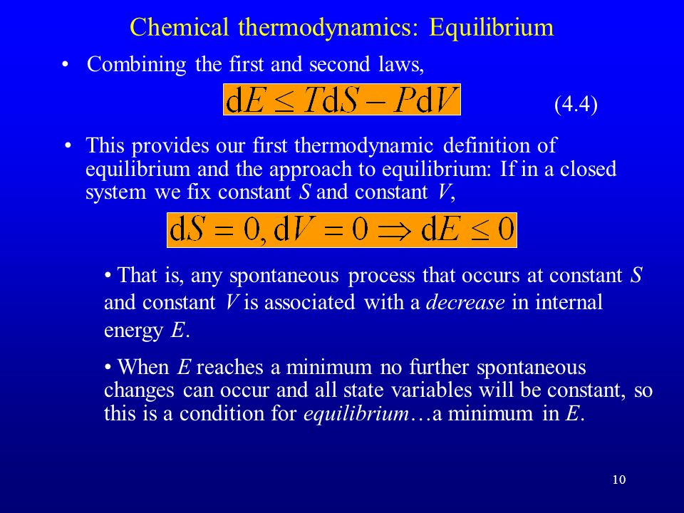 Chemical thermodynamics: Equilibrium