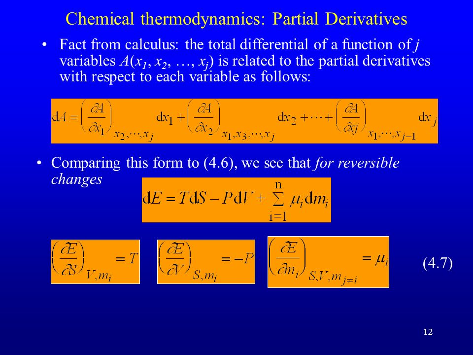 Chemical thermodynamics: Partial Derivatives