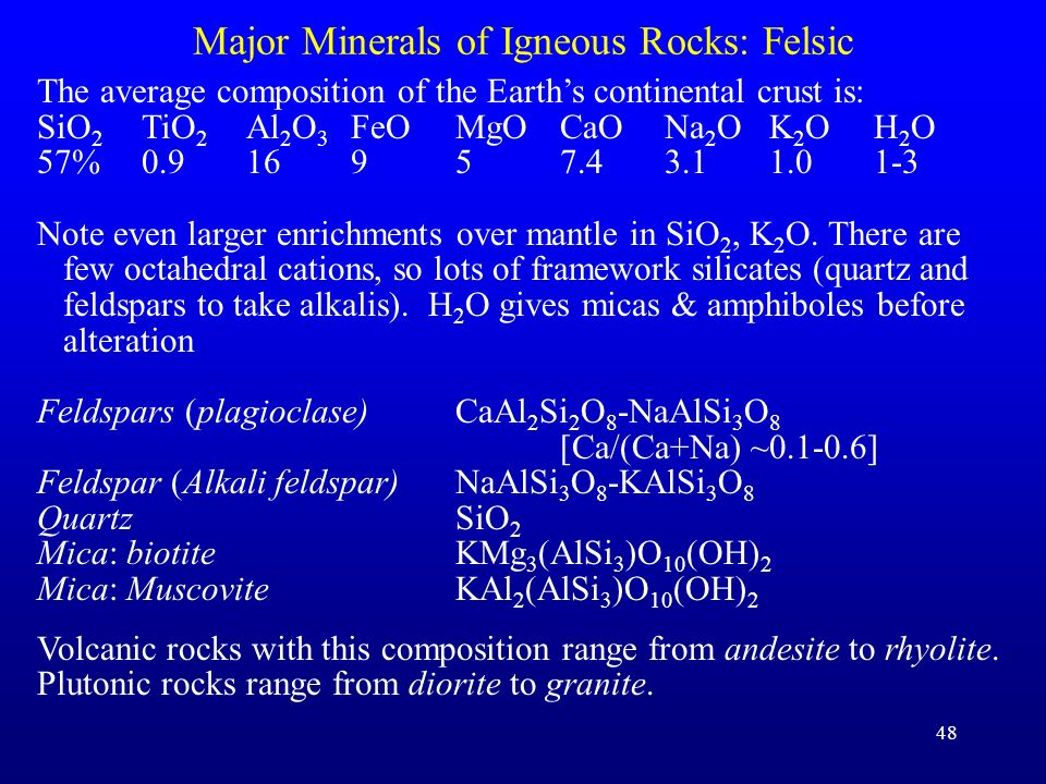 Major Minerals of Igneous Rocks: Felsic
