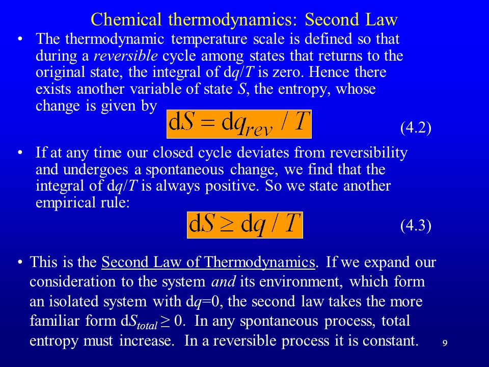 Chemical thermodynamics: Second Law