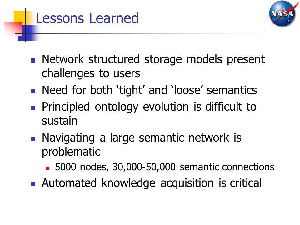 Lessons Learned Network structured storage models present challenges to users. Need for both 'tight' and 'loose' semantics.