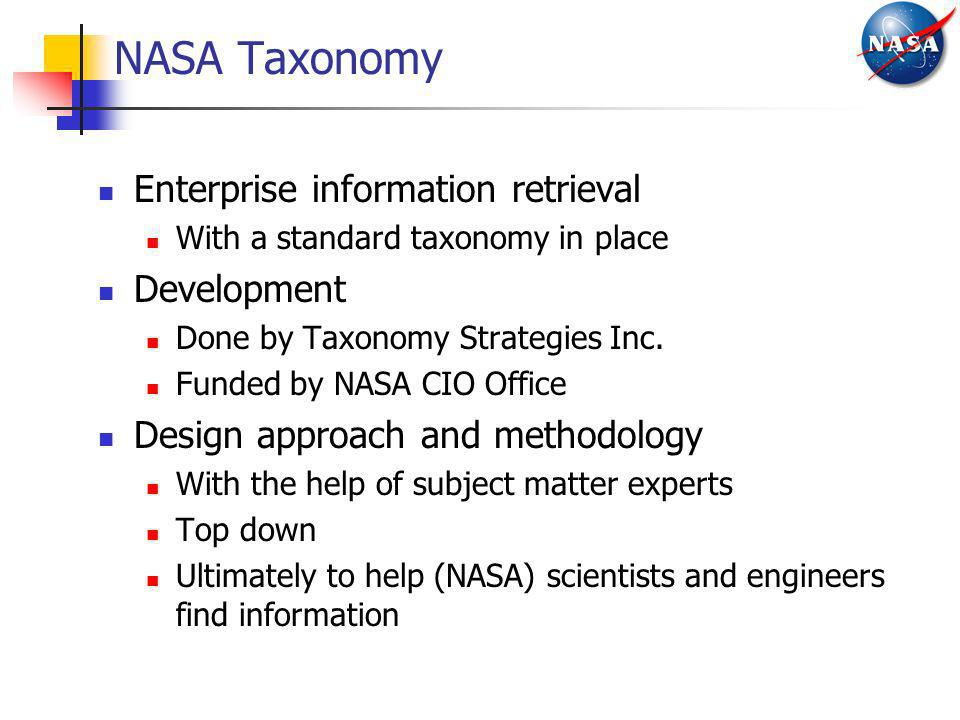 NASA Taxonomy Enterprise information retrieval Development