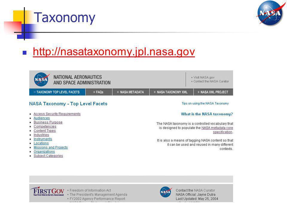 Taxonomy http://nasataxonomy.jpl.nasa.gov