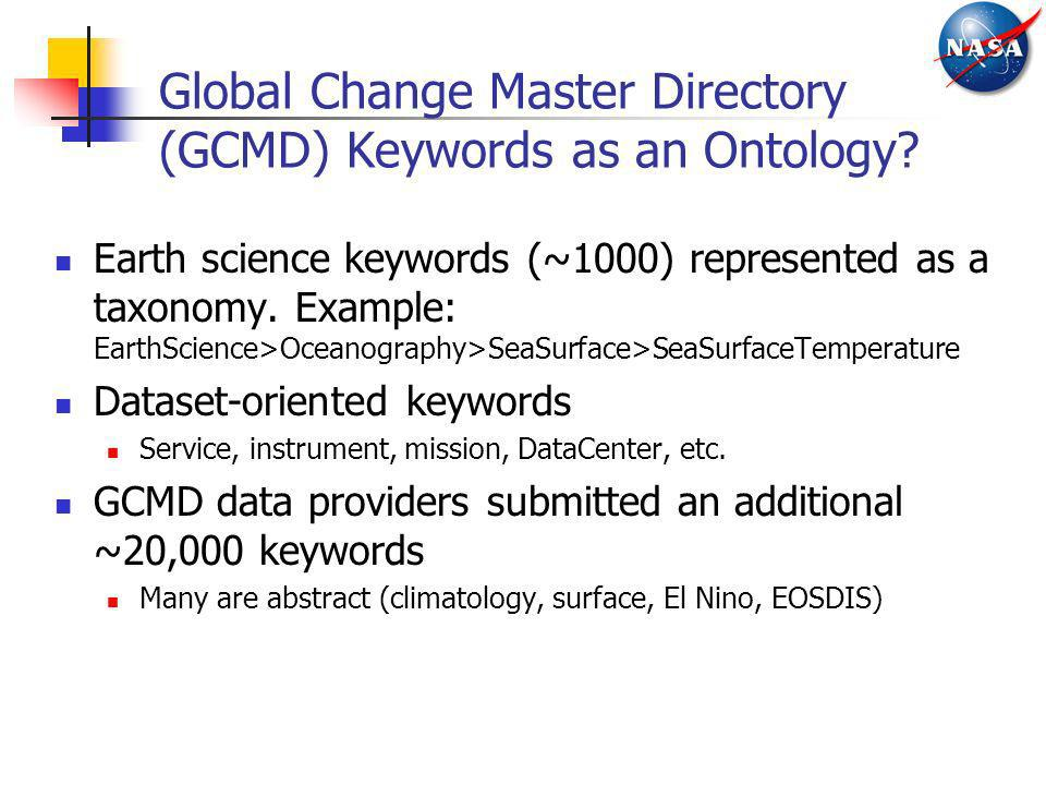 Global Change Master Directory (GCMD) Keywords as an Ontology