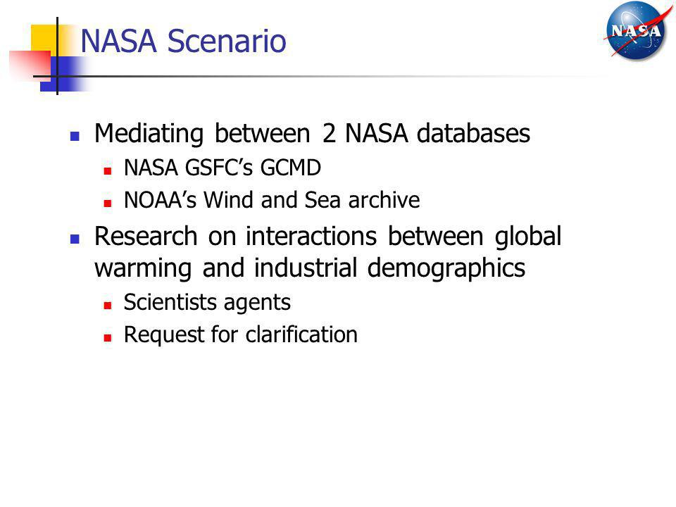 NASA Scenario Mediating between 2 NASA databases