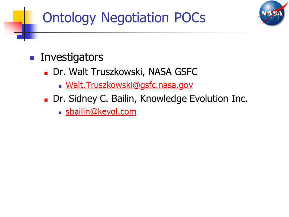 Ontology Negotiation POCs
