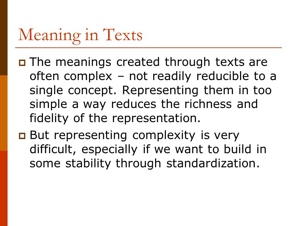 Meaning in Texts