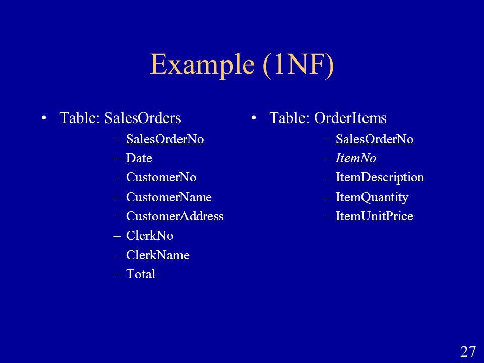 Example (1NF) Table: SalesOrders Table: OrderItems SalesOrderNo Date