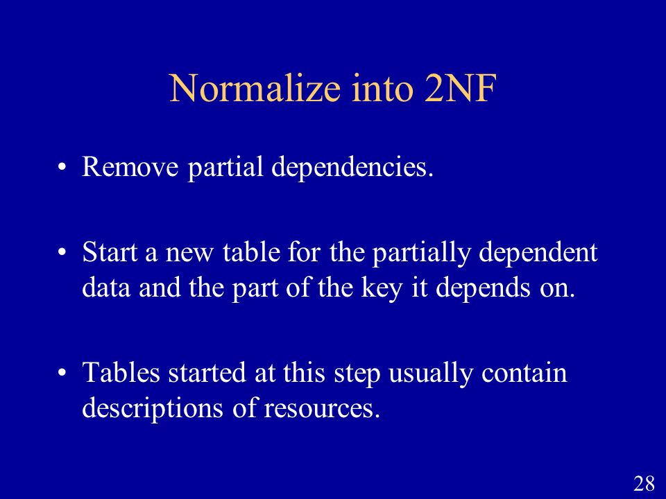 Normalize into 2NF Remove partial dependencies.