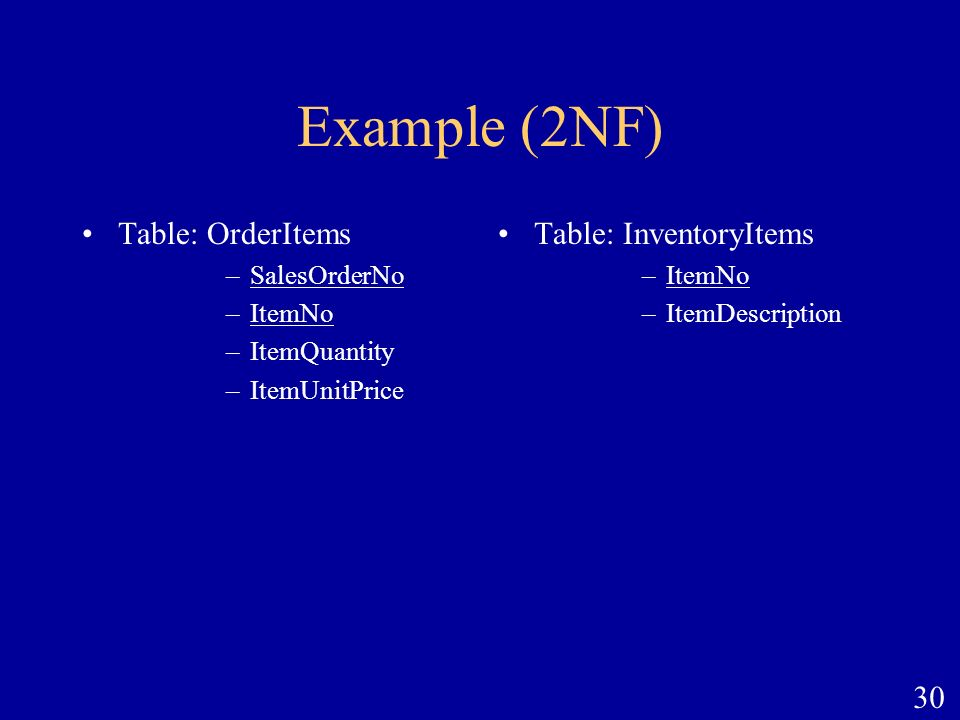 Example (2NF) Table: OrderItems Table: InventoryItems SalesOrderNo