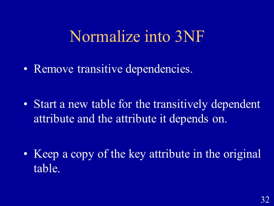 Normalize into 3NF Remove transitive dependencies.