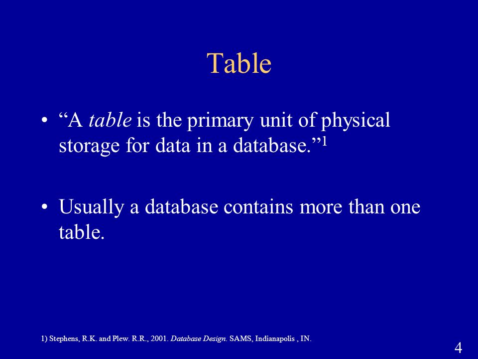 Table A table is the primary unit of physical storage for data in a database. 1. Usually a database contains more than one table.