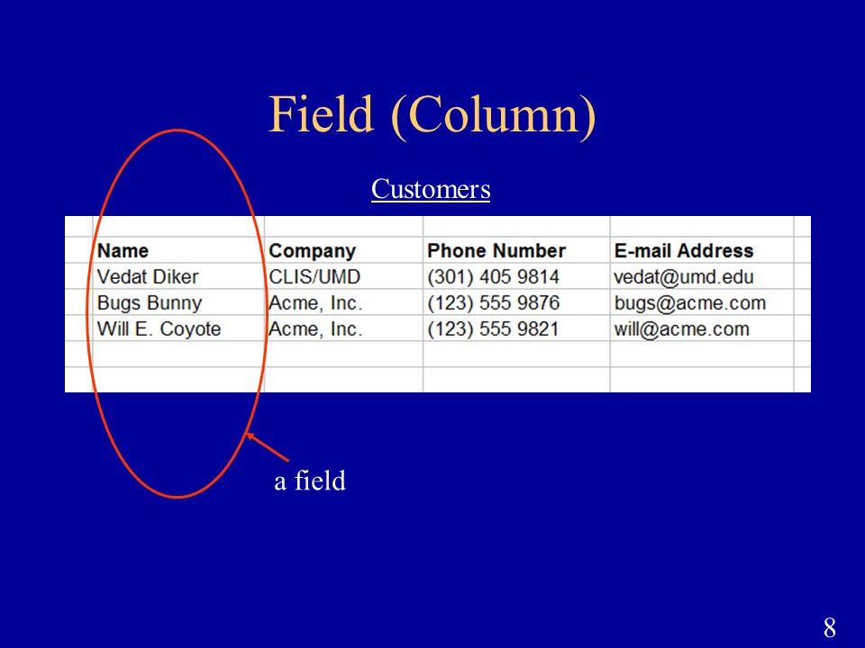 Field (Column) Customers a field