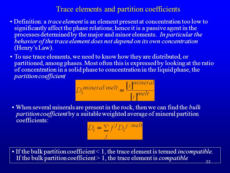 Trace elements and partition coefficients