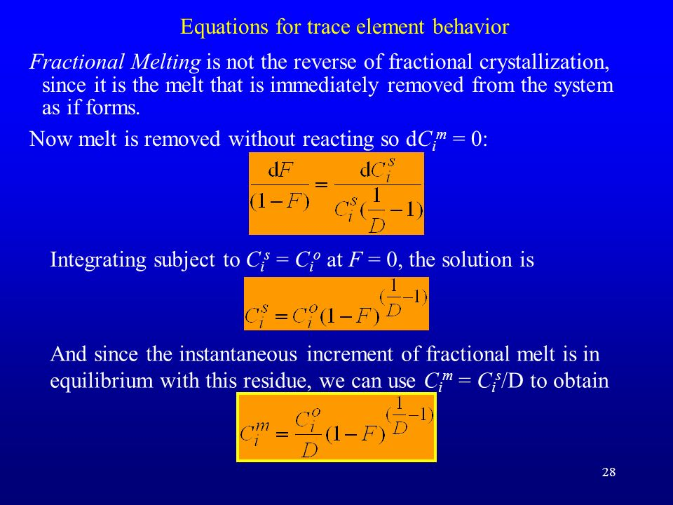 Equations for trace element behavior