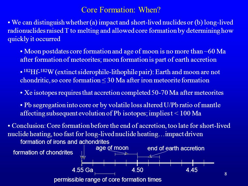 Core Formation: When
