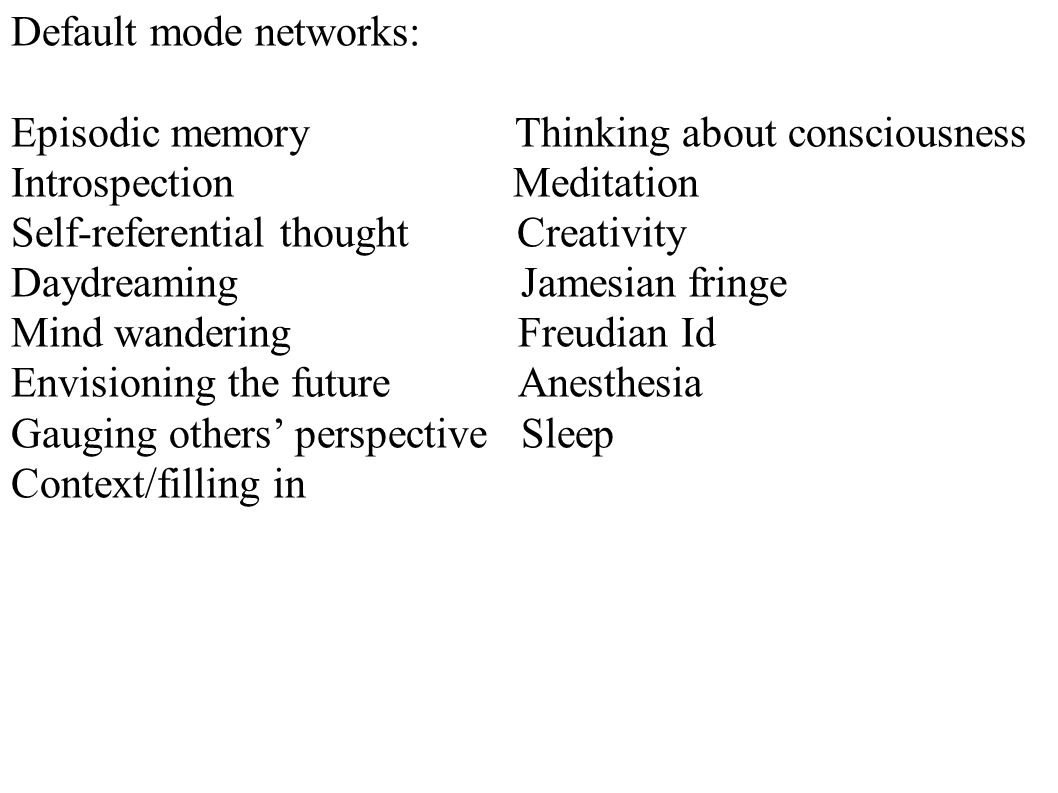 Default mode networks: