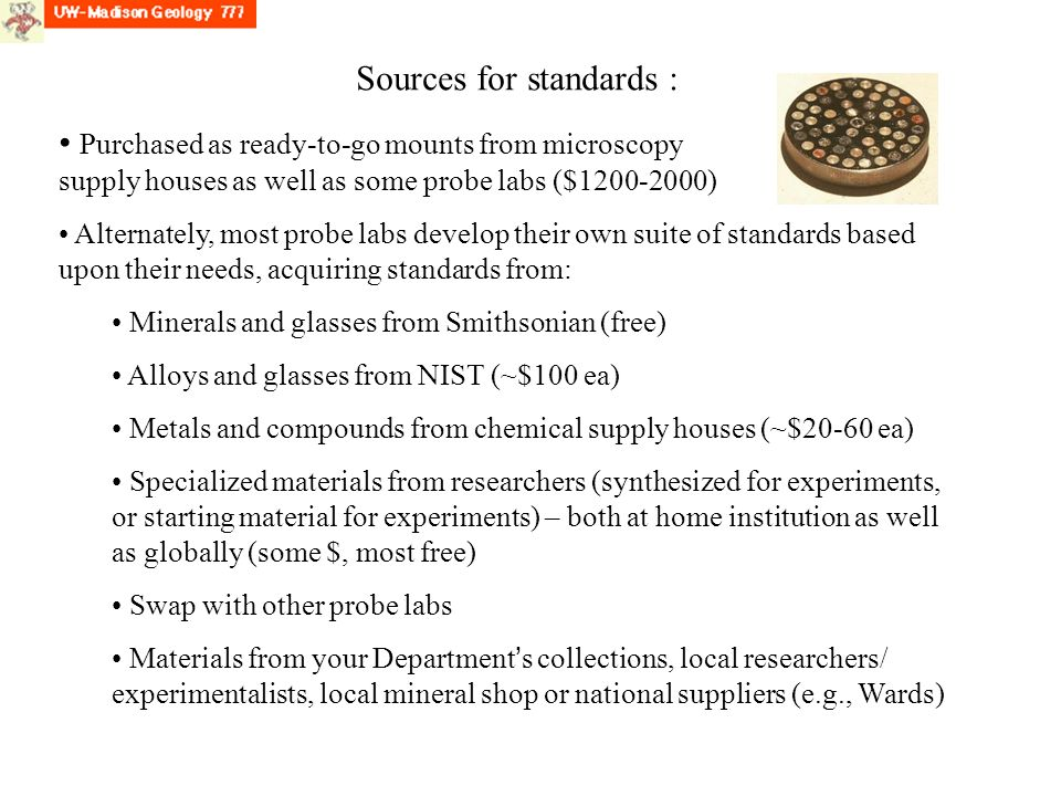 Sources for standards :