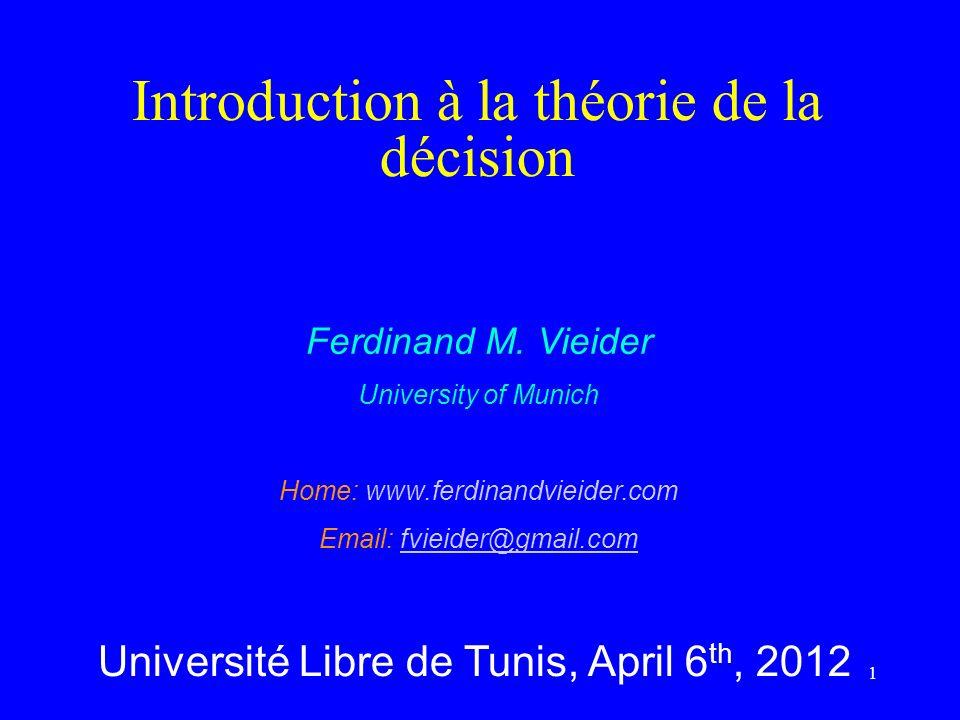 Introduction à la théorie de la décision