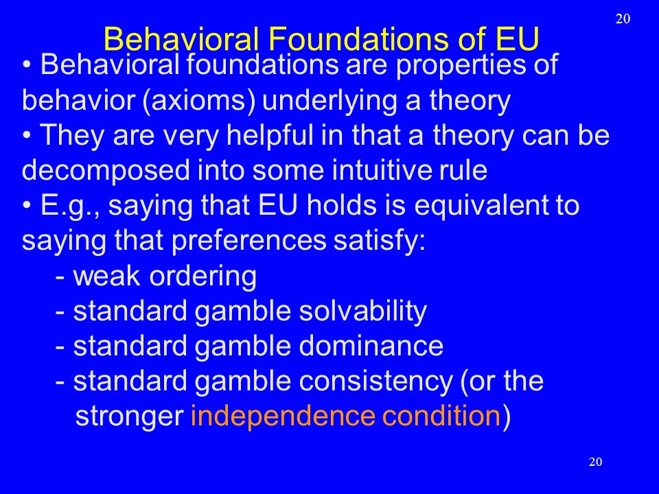 Behavioral Foundations of EU