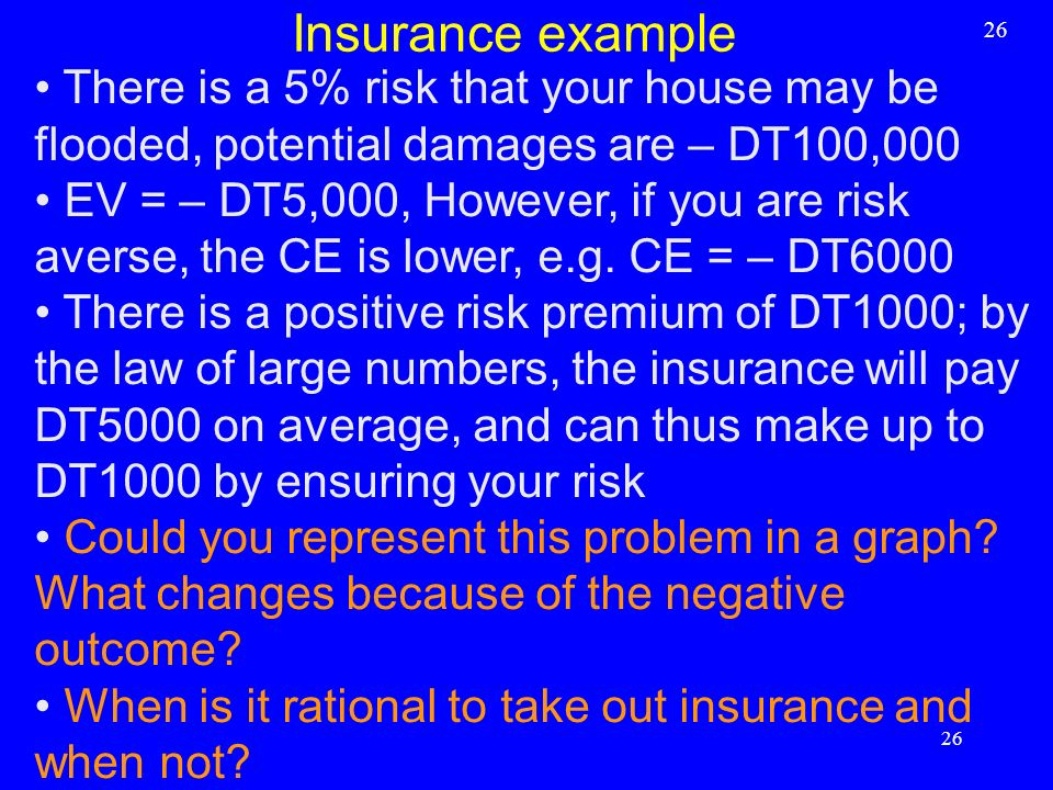 Insurance example 26. There is a 5% risk that your house may be flooded, potential damages are – DT100,000.