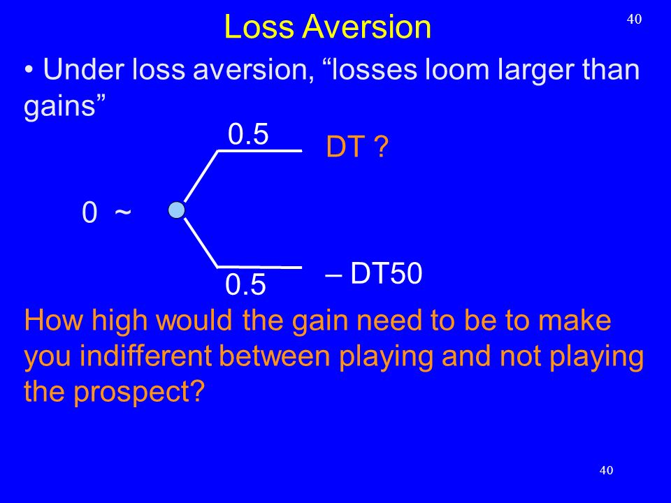 Loss Aversion Under loss aversion, losses loom larger than gains 0.5