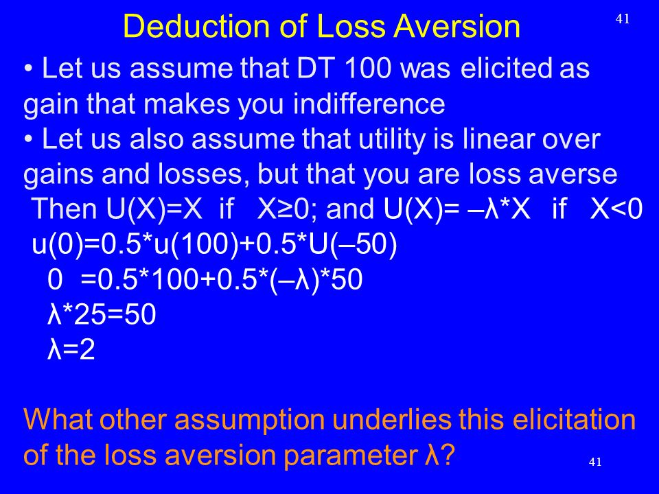 Deduction of Loss Aversion