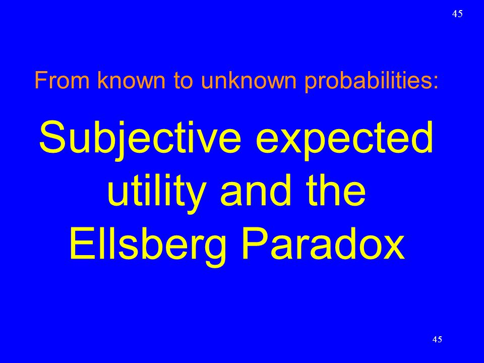 Subjective expected utility and the Ellsberg Paradox