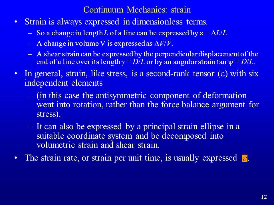Continuum Mechanics: strain