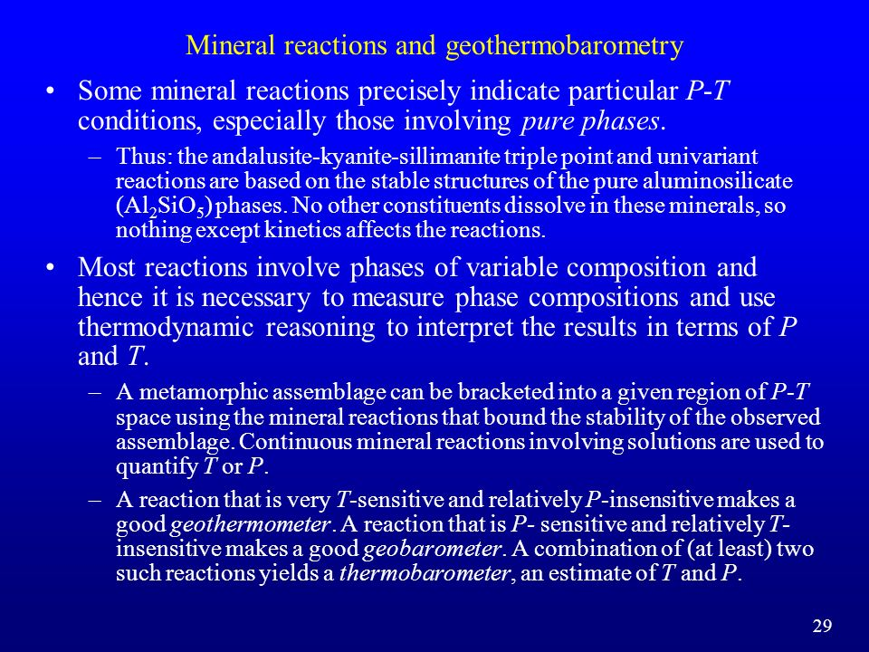 Mineral reactions and geothermobarometry