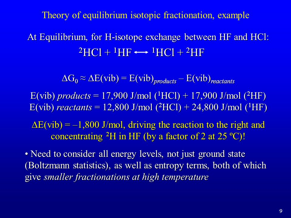 Theory of equilibrium isotopic fractionation, example