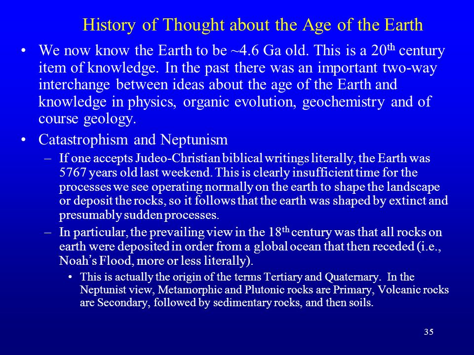 History of Thought about the Age of the Earth