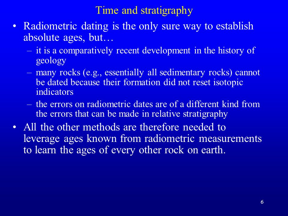 Time and stratigraphy Radiometric dating is the only sure way to establish absolute ages, but…