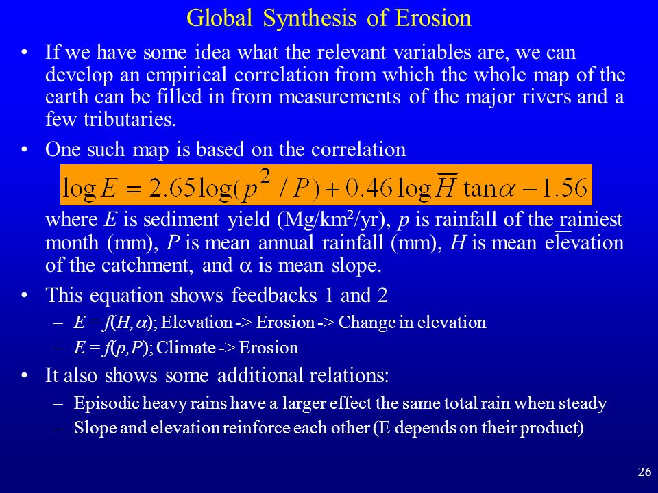 Global Synthesis of Erosion