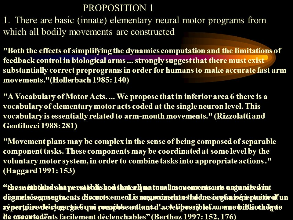 PROPOSITION 1 1. There are basic (innate) elementary neural motor programs from which all bodily movements are constructed.