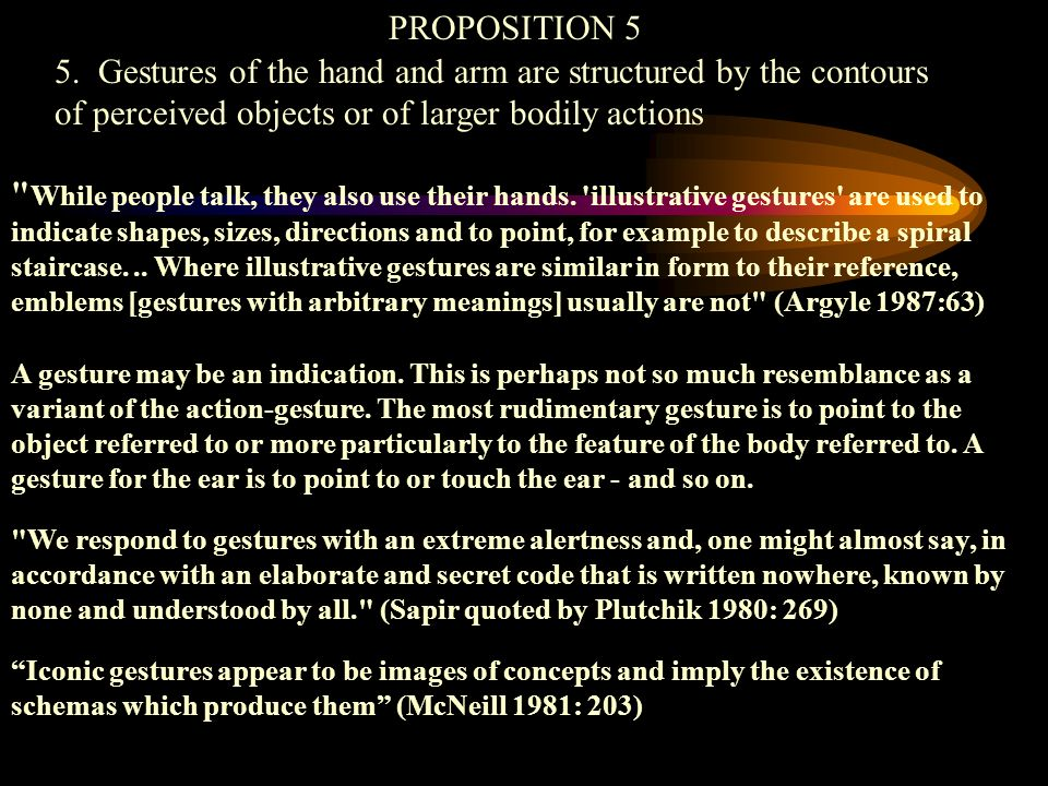 PROPOSITION 5 5. Gestures of the hand and arm are structured by the contours of perceived objects or of larger bodily actions.