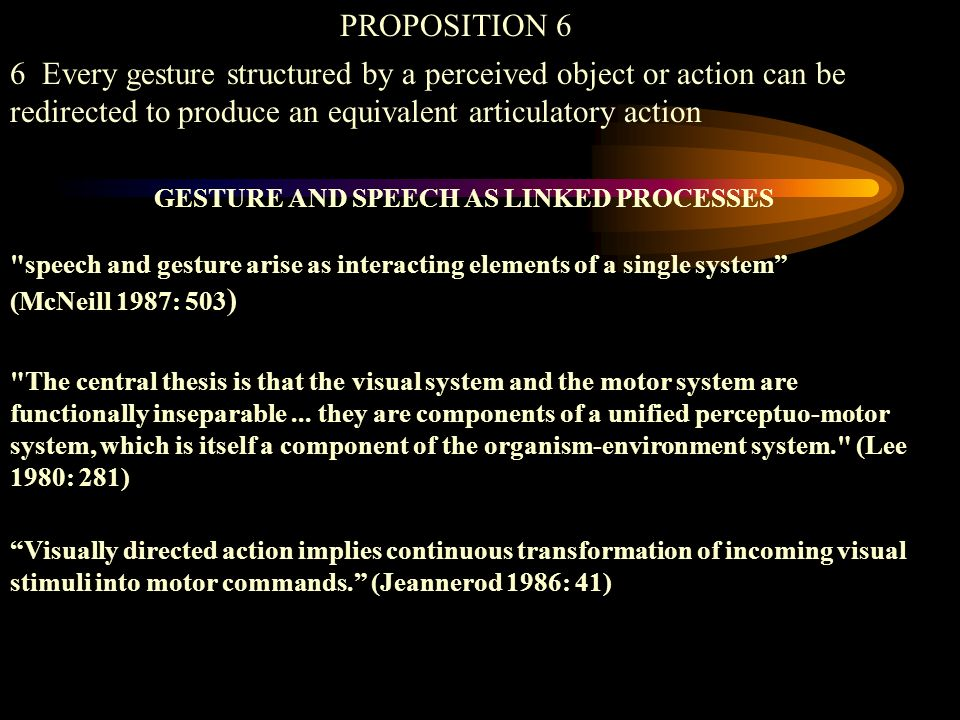 GESTURE AND SPEECH AS LINKED PROCESSES