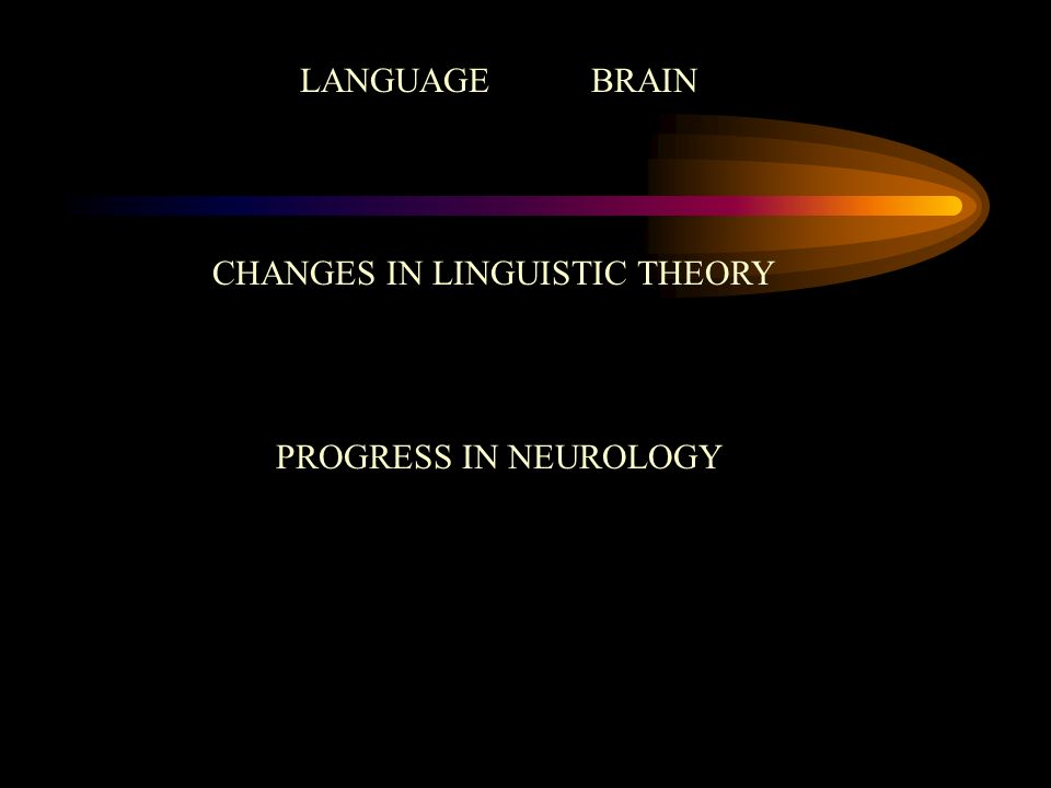 LANGUAGE BRAIN CHANGES IN LINGUISTIC THEORY PROGRESS IN NEUROLOGY