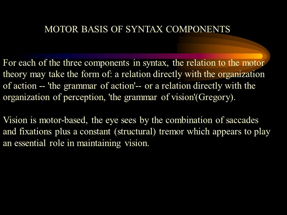 MOTOR BASIS OF SYNTAX COMPONENTS