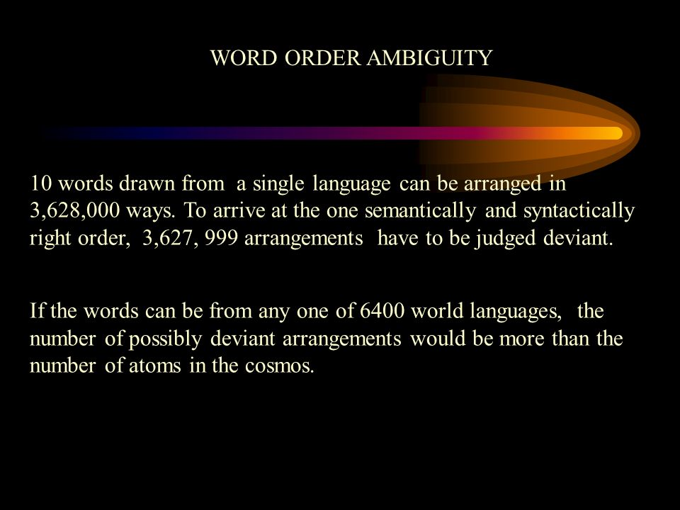 WORD ORDER AMBIGUITY