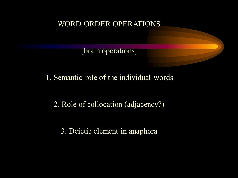 1. Semantic role of the individual words