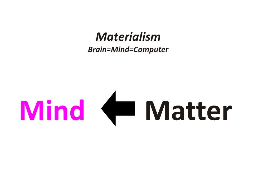 Materialism Brain=Mind=Computer Mind Matter