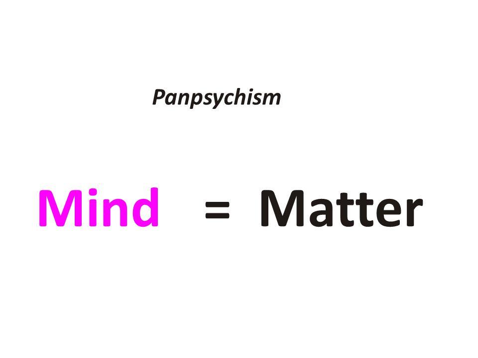 Panpsychism Mind = Matter