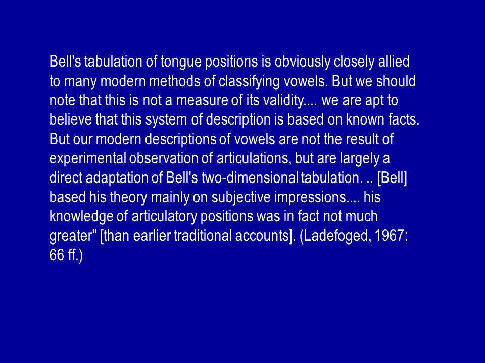 Bell s tabulation of tongue positions is obviously closely allied to many modern methods of classifying vowels.