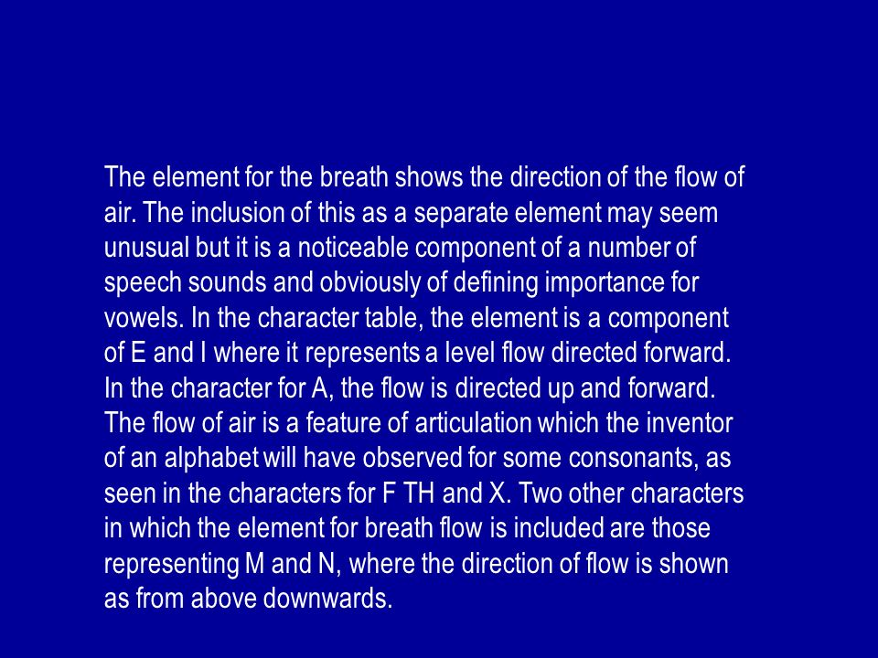 The element for the breath shows the direction of the flow of air