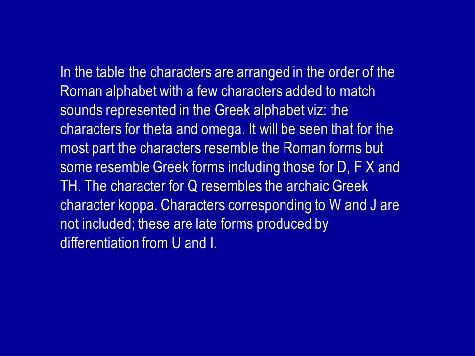 In the table the characters are arranged in the order of the Roman alphabet with a few characters added to match sounds represented in the Greek alphabet viz: the characters for theta and omega.