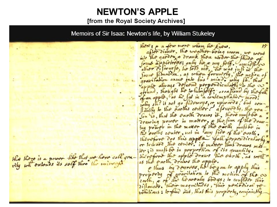 NEWTON'S APPLE [from the Royal Society Archives]