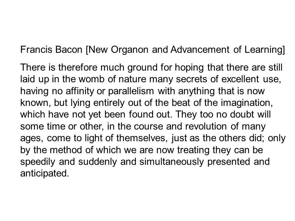 Francis Bacon [New Organon and Advancement of Learning]