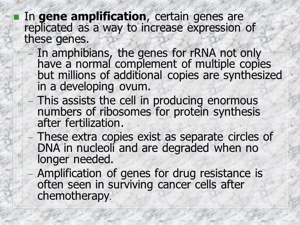 In gene amplification, certain genes are replicated as a way to increase expression of these genes.