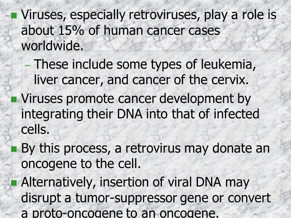 Viruses, especially retroviruses, play a role is about 15% of human cancer cases worldwide.